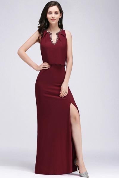 A-line Chiffon V-Neck Sleeveless Front-Split Floor-length Bridesmaid Dress with Crystal_1