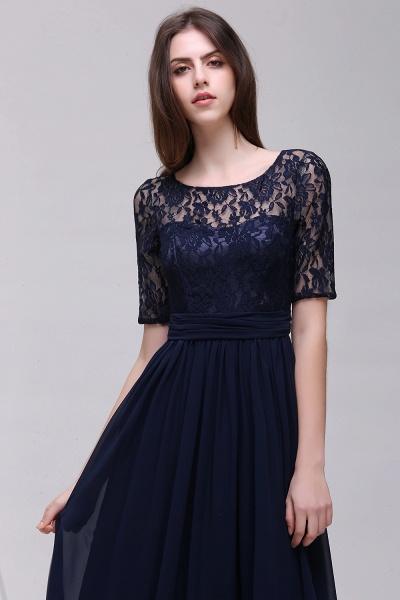Elegant A-line Chiffon Lace Scoop Half-Sleeve Floor-Length Bridesmaid Dress_3