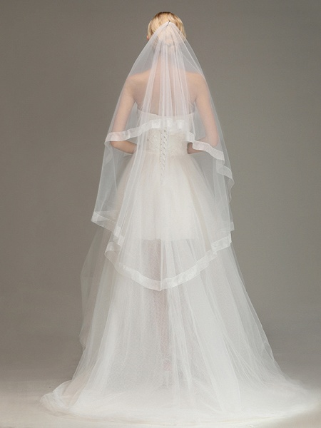 Two Layers Cut Edge Wedding Veil Tulle Bridal Veil