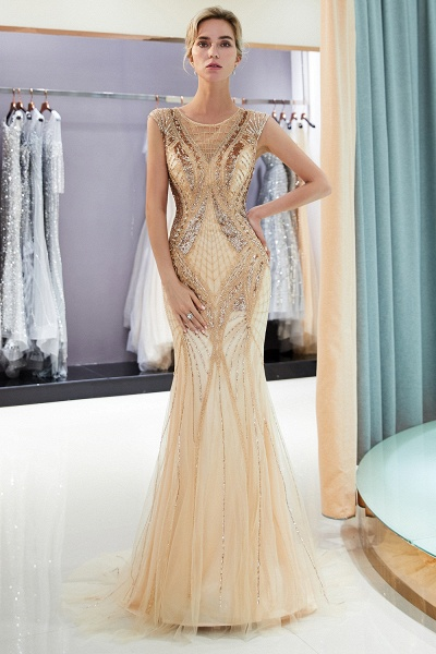 Sleeveless Mermaid Golden Sequins Beading Formal Prom Dresses