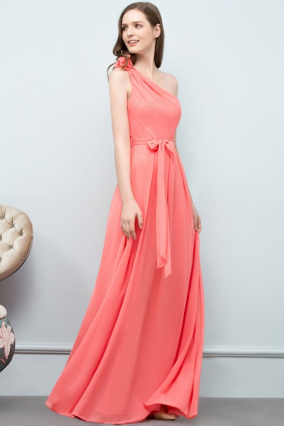 A-line Chiffon One-Shoulder Sleeveless Floor-Length Bridesmaid Dress with Bow Sash_3