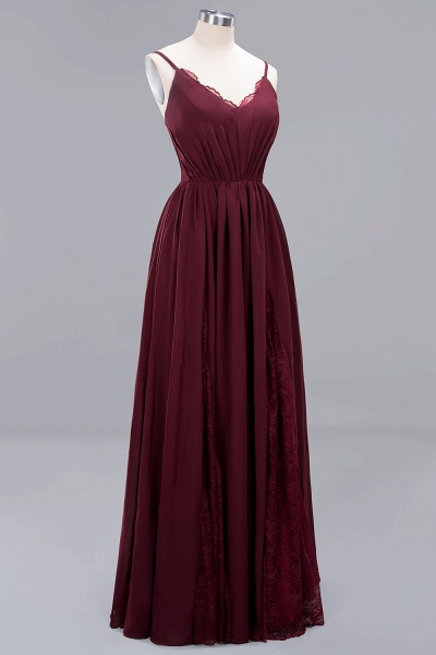 BM0213 A-Line Chiffon V-Neck Spaghetti Straps Long Bridesmaid Dress_15