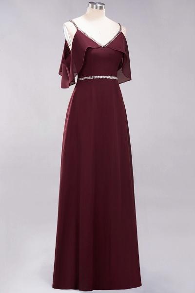 elegant A-line Chiffon V-Neck Spaghetti Straps Sleeveless Floor-Length Bridesmaid Dresses with Beading Sash_3