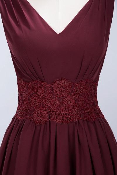 A-line Chiffon Lace V-Neck Sleeveless Mini Bridesmaid Dresses_40