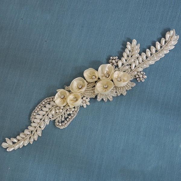 Handmade Flower Pearl Wedding Sash with Beadings_7