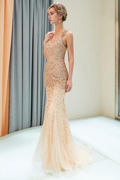 Mermaid V-neck Sleeveless Crystals Beading Floor Length Party Dresses_6