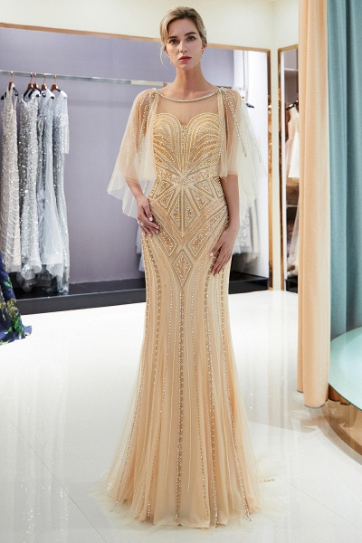Chic Jewel Tulle Mermaid Prom Dress_17