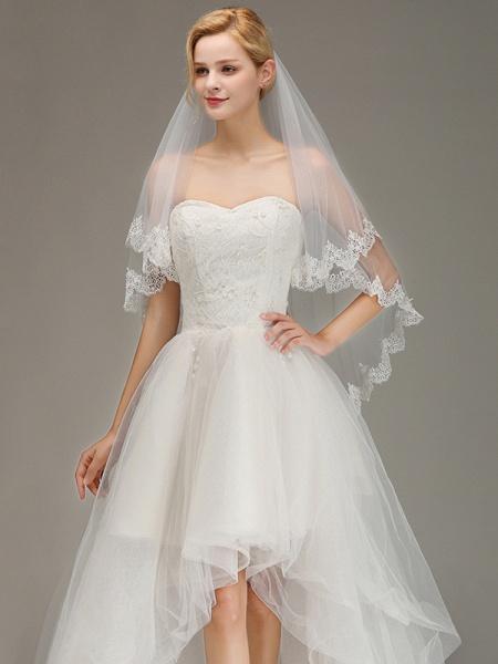 Elegant Two Layers Lace Edge Long Wedding Veil_5