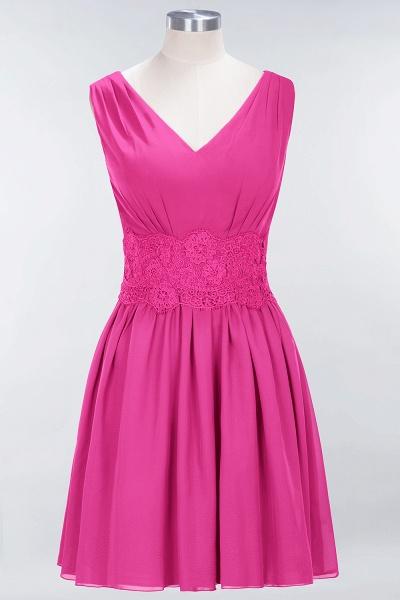 A-line Chiffon Lace V-Neck Sleeveless Mini Bridesmaid Dresses_9