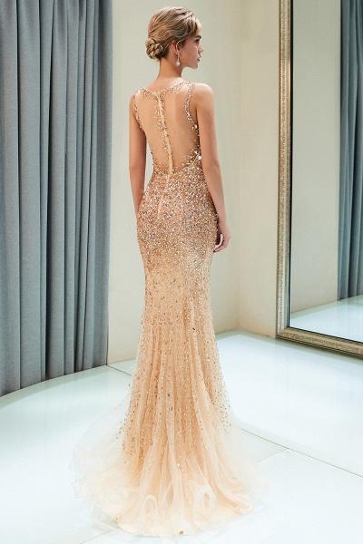 Mermaid V-neck Sleeveless Crystals Beading Floor Length Party Dresses_4