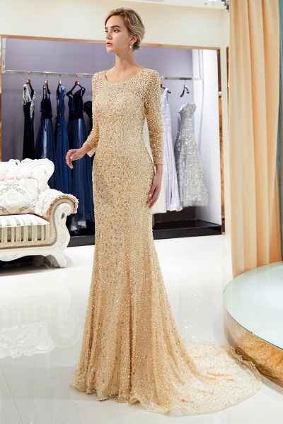 Long Sleeve Mermaid Floor Length Sequins Formal Party Dresses_14