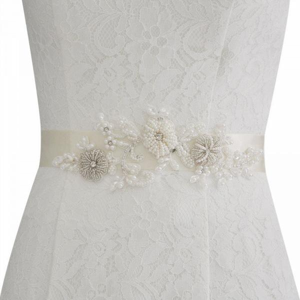 Beautiful Satin Flower Wedding Sash with Pearls_2