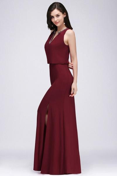 A-line Chiffon V-Neck Sleeveless Front-Split Floor-length Bridesmaid Dress with Crystal_4