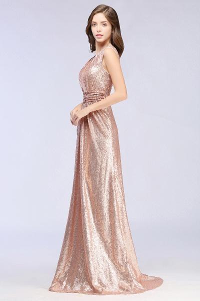 Elegant A-line Sequined V-Neck Sleeveless Floor-Length Bridesmaid Dresses_3