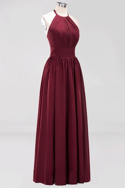 A-line Chiffon Appliques Halter Sleeveless Floor-Length Bridesmaid Dresses with Ruffles_43
