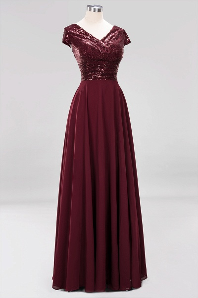 BM0156 A-Line Burgundy Chiffon Sequined V-Neck Sleeveless Ruffles Bridesmaid Dresses_11