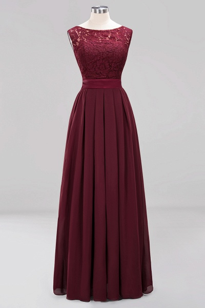A-line Chiffon Lace Jewel Sleeveless Ruffles Floor-length Bridesmaid Dress_9