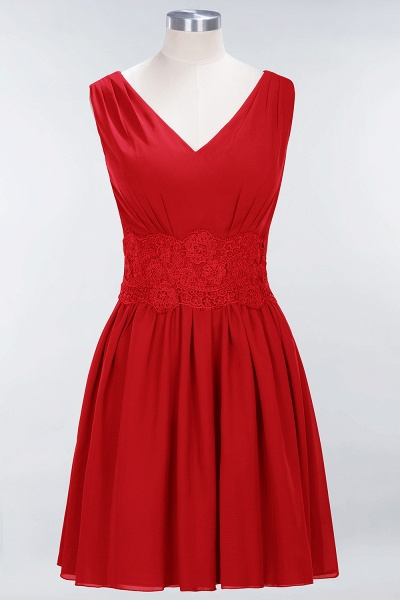 A-line Chiffon Lace V-Neck Sleeveless Mini Bridesmaid Dresses_8