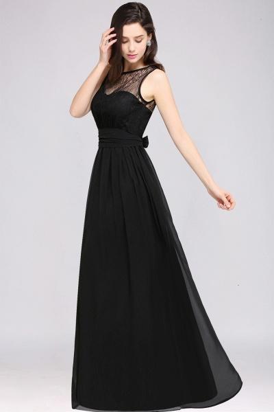 A-Line Chiffon Lace Jewel Sleeveless Keyhole Floor-Length Bridesmaid Dresses_4