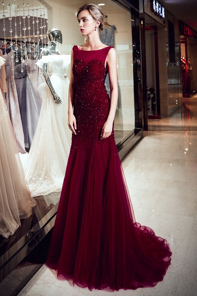 Mermaid Sleeveless Sequined Tulle Burgundy Long Evening Gowns_4