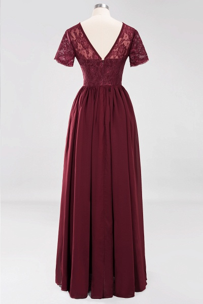 A-line Chiffon Lace Jewel Short-Sleeves Floor-length Bridesmaid Dress_41