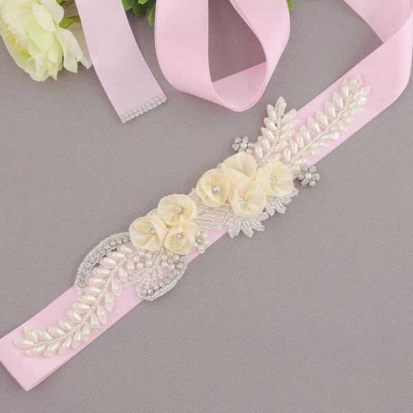 Handmade Flower Pearl Wedding Sash with Beadings_3