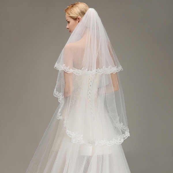 Two Layers Tulle Lace Edge Comb Wedding Veil_5