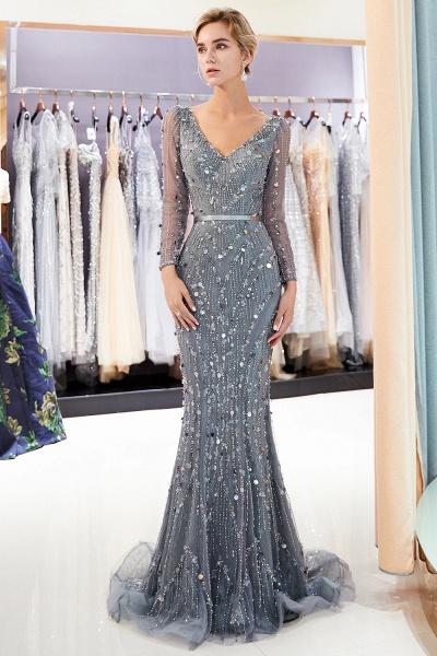 Wonderful V-neck Tulle Mermaid Prom Dress_1