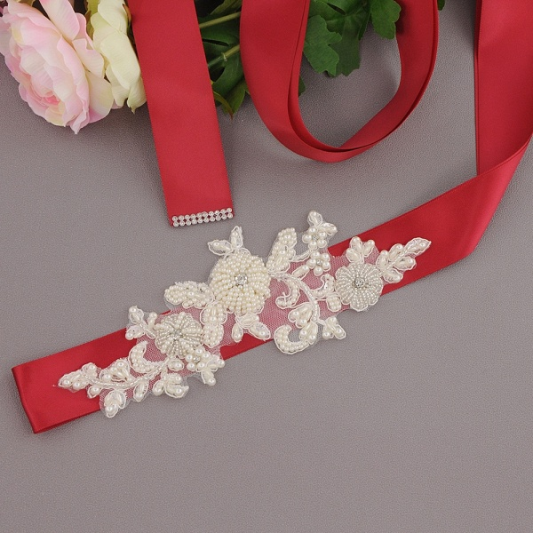 Beautiful Satin Flower Wedding Sash with Pearls_8