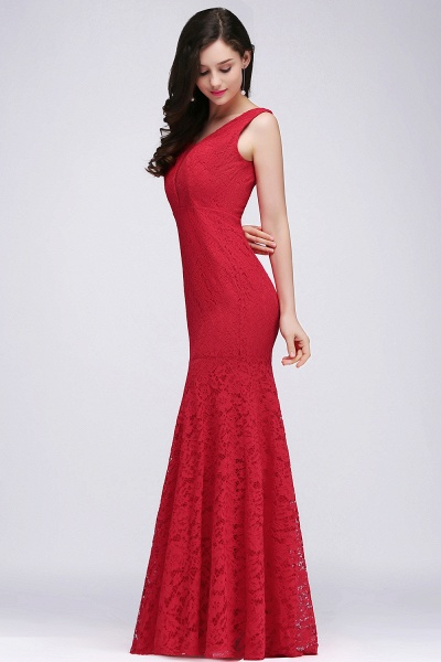 Elegant Mermaid Lace V-Neck Sleeveless Floor-Length Bridesmaid Dresses_3