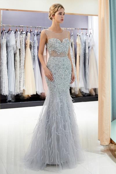 Sleeveless Mermaid Illusion Neckline Crystal Sqeuined Tulle Evening Dresses_6