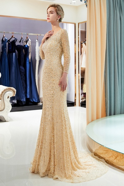 Long Sleeve Mermaid Floor Length Sequins Formal Party Dresses_12