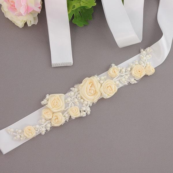 Elegant Satin Flowers Wedding Sash with Beadings_3
