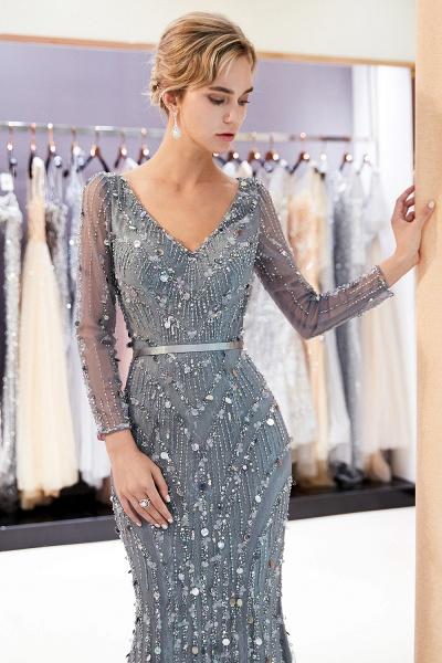 Wonderful V-neck Tulle Mermaid Prom Dress_6