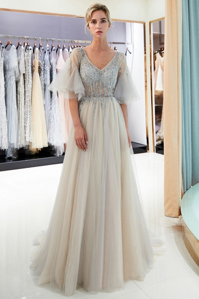Modest Tulle A-line Prom Dress_2