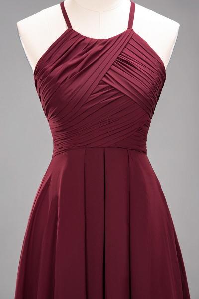 A-Line Chiffon Halter Ruffles Floor-Length Bridesmaid Dress_45