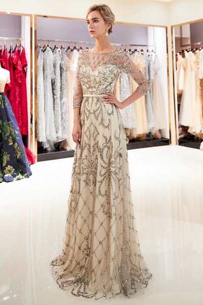 A-line Illusion Neckline Beading Evening Gowns with Sleeves_7