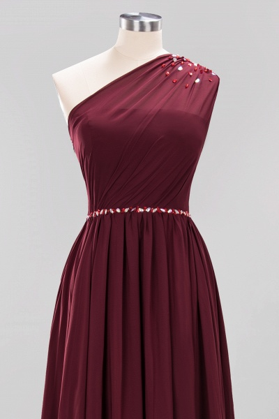 Elegant A-Line Burgundy Chiffon One-Shoulder Sleeveless Ruffles Floor-Length Bridesmaid Dresses with Beadings_43