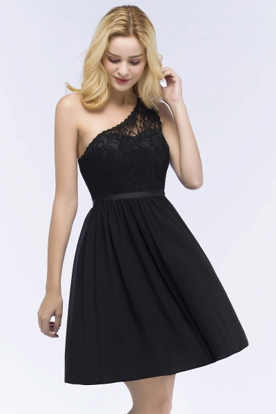 A-Line Chiffon Lace One-shoulder Short-Sleeves Knee-Length Bridesmaid Dresses with Sash_3