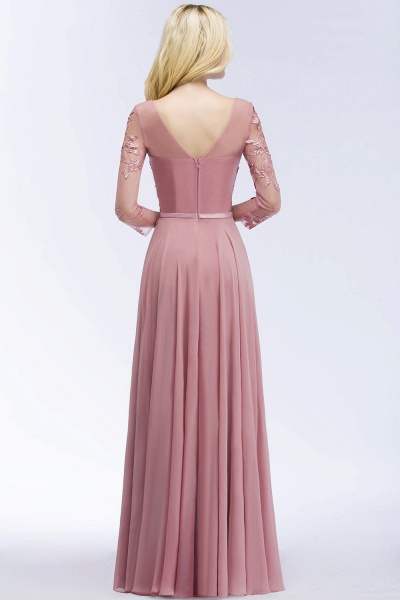A-line Chiffon Appliques V-Neck Long-Sleeves Floor-Length Bridesmaid Dresses_2