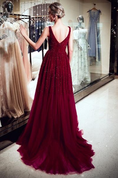 A-line V-neck Sleeveless Burgundy Sequins Tulle Long Evening Dresses_6