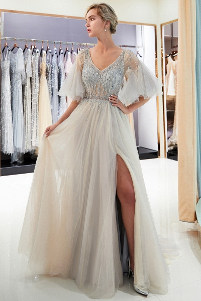 Modest Tulle A-line Prom Dress_8