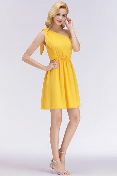 BM0039 Elegant Chiffon One-Shoulder Sleeveless Ruffles Short Bridesmaid Dresses with Bow_6