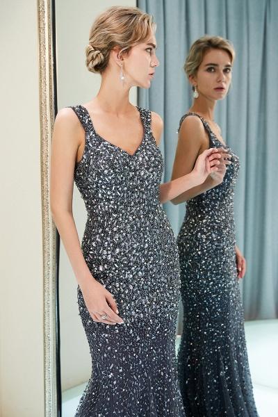 Mermaid V-neck Sleeveless Crystals Beading Floor Length Party Dresses_16