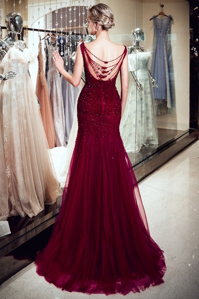 Mermaid Sleeveless Sequined Tulle Burgundy Long Evening Gowns_3