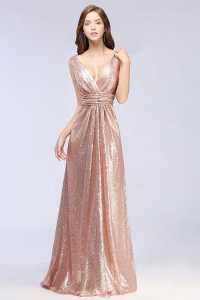 Elegant A-line Sequined V-Neck Sleeveless Floor-Length Bridesmaid Dresses_5