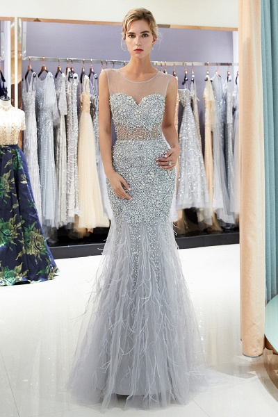Sleeveless Mermaid Illusion Neckline Crystal Sqeuined Tulle Evening Dresses