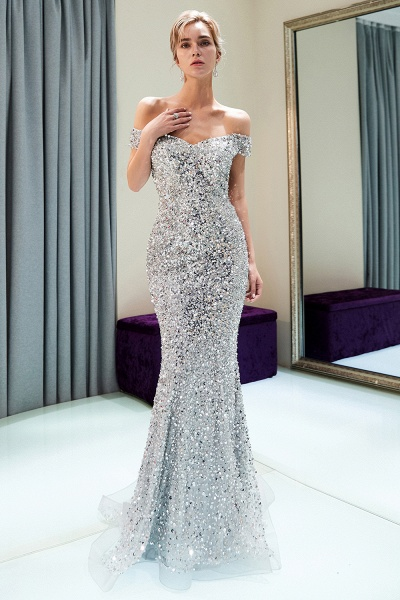 Beautiful Off-the-shoulder Tulle Mermaid Prom Dress_9
