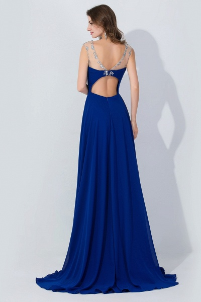 A-line Chiffon Tulle Scoop Sleeveless Floor-Length Bridesmaid Dress With Crystal_2