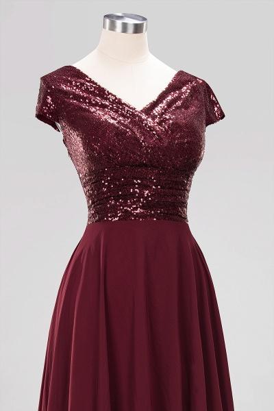BM0156 A-Line Burgundy Chiffon Sequined V-Neck Sleeveless Ruffles Bridesmaid Dresses_13